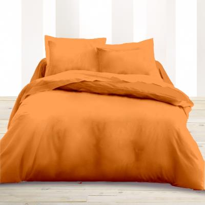 Housse de couette 220 x 240 unie orange 100% Coton / 57 Fils/cm2