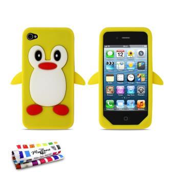 Coque souple Jaune Le Pingouin ORIGINALE de MUZZANO pour APPLE IPHONE 4 IPHONE 4S