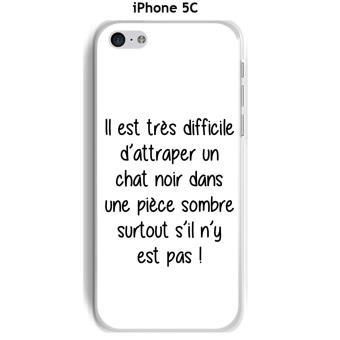 Coque Apple iphone 5C Citation chat noir