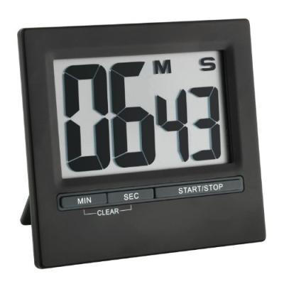 Tfa dostmann 38.2013.01 minuteur chronomètre électronique avec grand écran en aluminium noir