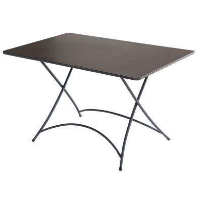 Table rectangulaire de jardin en fer forgé coloris gris anthracite - Dim : H 72 x L 120 x P 80 cm -PEGANE-