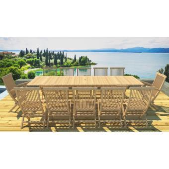 Lynco - Salon de jardin teck table rallonge 10 chaises 2 fauteuils ...