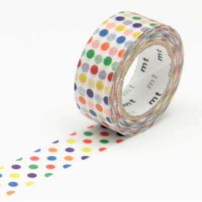 Masking Tape MT KIDS - 15 mm - Pois multicolore - Masking Tape (MT)