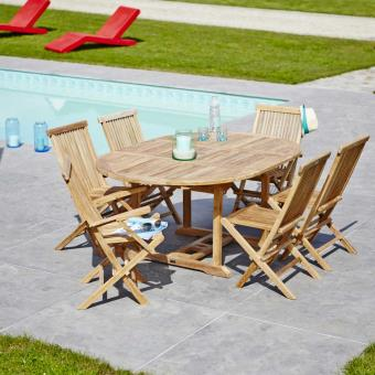 Salon de jardin en Teck brut Qualité Grade A 6/8 pers ...