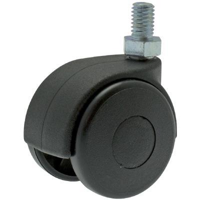 Guitel point M - Roulette Twiny noire à tige filetée pivotante 50 x Ø 40 mm - Portée 25 Kg
