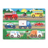 Puzzle en bois à boutons 8 pièces Véhicules Melissa & Doug