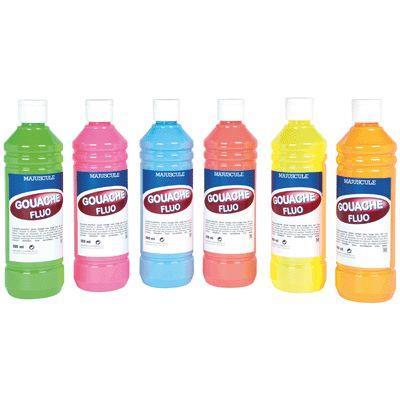Carton de 6 flacons de 500 ml de gouache concentrée fluorescente. Couleurs assorties : bleu, jaune, rose, vert, rouge et orange
