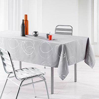 L'harmonie du décor 1721578 nappe imprimé argent bully polyester perle 240 x 150 x 240 cm