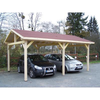 Habrita - Carport Double Avec Couverture Bardeau Bitumé