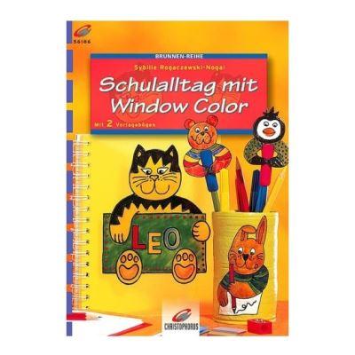 Window color modele peinture fenetre la vie scolaire des animaux : chat - lapin ours - livre (langue allemand)