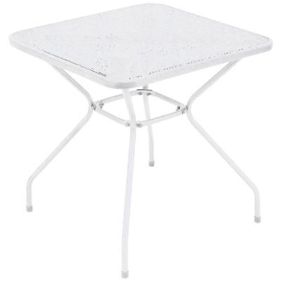 Table d'appoint de jardin en fer forgé coloris blanc - Dim : H 72 x L 70 x P 70 cm -PEGANE-