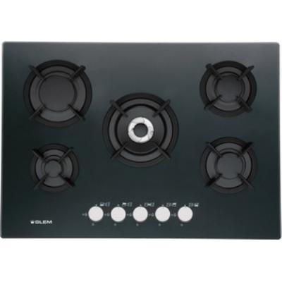 Glem GV755HBK - Table de cuisson au gaz - 5 plaques de cuisson - Niche - largeur : 55 cm - profondeur : 47 cm - noir - noir