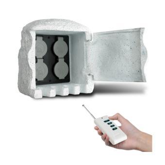 borne lectrique de jardin imitation pierre avec t l commande luminaires ext rieur achat. Black Bedroom Furniture Sets. Home Design Ideas