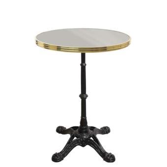 Table bistrot ronde gris pierre avec cerclage en laiton - Pied de table bistrot ...