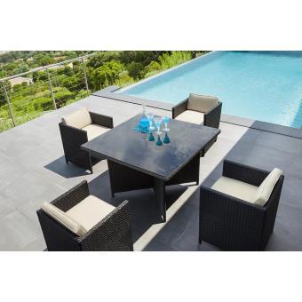 Ensemble table à manger de jardin, 4 fauteuils et 4 poufs en ...