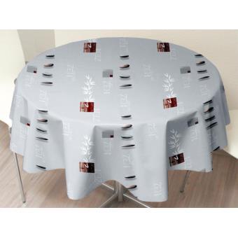 nappe toile cir e ronde 160 cm zen nature gris achat prix fnac. Black Bedroom Furniture Sets. Home Design Ideas