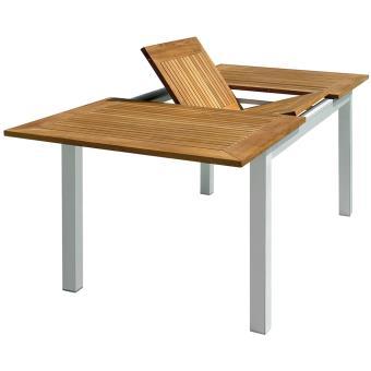 Table de jardin rectangulaire et extensible en aluminium et bois ...