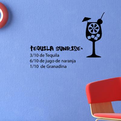 Pick and Stick Sticker Mural déco Tequila - 35 x 55 cm, Noir