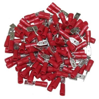 Cosses Electriques Males Plates Rouges 4.7 Sachet De 100 Cosses
