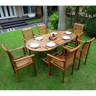 Salon en teck de jardin pour 6 personnes - table 180 cm et fauteuils