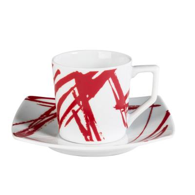 Table Passion - Tasse - Sous/Tasse Cafe 12 Cl Porcelaine Decor Expression Rouge ( Lot De 6 )