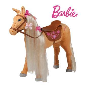 happy people 58036 cheval de barbie en peluche monter avec selle faon cuir achat prix fnac - Barbie Cheval
