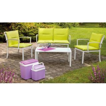 Imagin - Salon détente vert anis 1 canapé + 2 fauteuils + 1 table ...