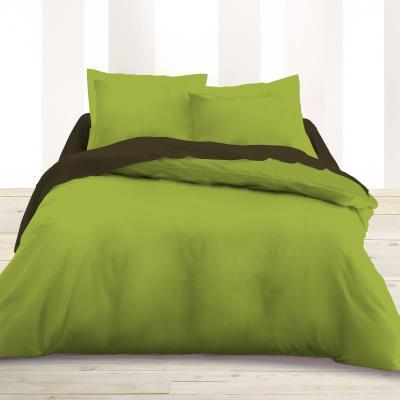 Housse de couette 220 x 240 unie vert 100% Coton / 57 Fils/cm2