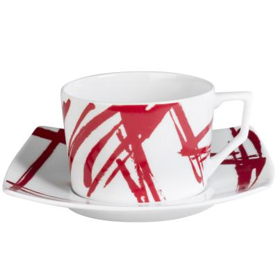 Table Passion - Tasse - Sous/Tasse Dejeuner 34 Cl Porcelaine Decor Expression Rouge ( Lot De 6 )