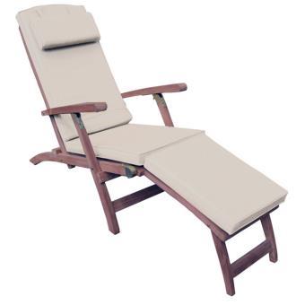 Chaise longue de jardin en bois avec coussin vert cendré ...
