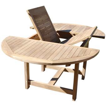 Table de jardin ronde et extensible en bois teck - Dim : 120 ...