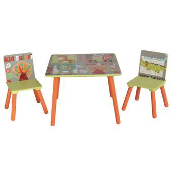 Ensemble table et 2 chaises pour enfant en bois motif - Table et chaise enfant bois ...