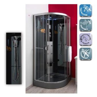 aqua cabine de douche hydro sans silicone 1 4 cercle 80 acc s coulissant 90x90cm ned. Black Bedroom Furniture Sets. Home Design Ideas