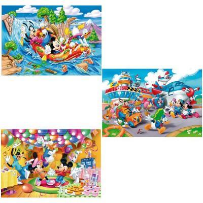 Clementoni - Puzzle 3 x 48 pièces - Mickey Mouse Club House : Plus on est de fous ...