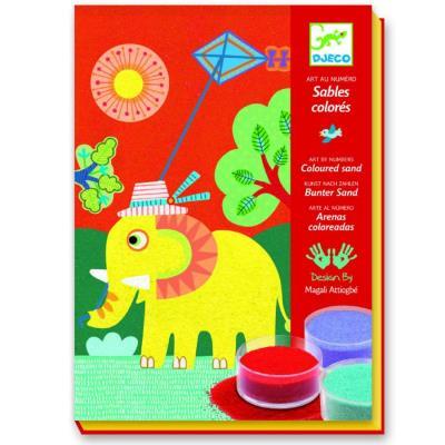 Kit de loisirs creatifs Djeco dessins aux sables colorés En plein air enfants
