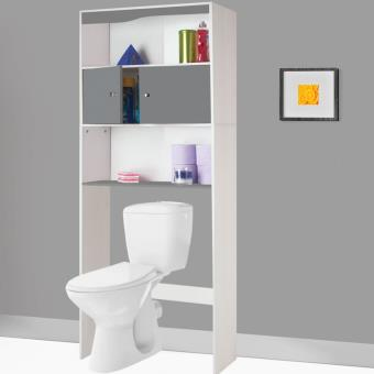16 sur meuble tag re dessus wc en bois coloris gris accessoires salles de bain et wc - Meuble etagere wc ...