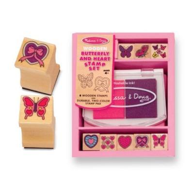WOODEN BUTTERFLY AND HEART STAMP SET (ENSEMBLE DE TAMPONS ENCREURS EN BOIS)