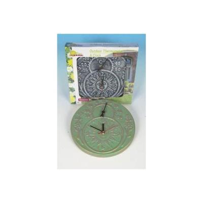horloge + thermometre exterieur soleil terracotta pour jardin couleur verte
