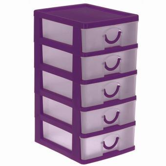 Petit Bloc Coffret Tour Boite De Rangement 5 Tiroirs Plastique Violet Boite De Rangement Achat Prix Fnac