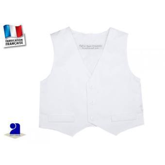 buying cheap offer discounts low price sale Gilet coton blanc, costume garçon Taille - 94 cm 36 mois ...