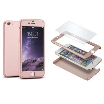 Coque iphone 6 6s coque integrale avant arriere verre trempe rose