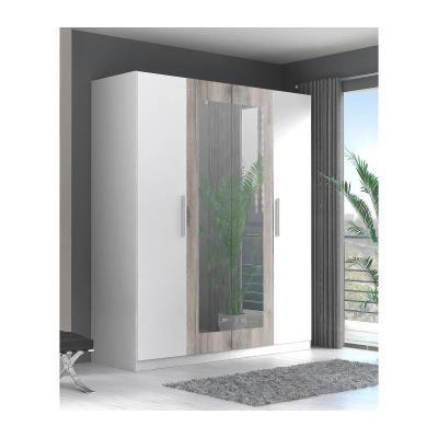 Finlandek armoire de chambre siisti 180 cm - blanc et décor chene sable