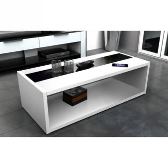Dany Table Basse 116 Cm Blanc Et Noir Brillant Autres Decoration