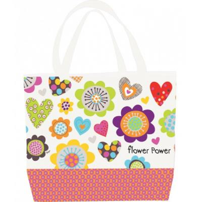 Sac de plage toile - flower power