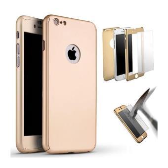 Coque iphone 6 6s coque integrale avant arriere verre trempe or gold
