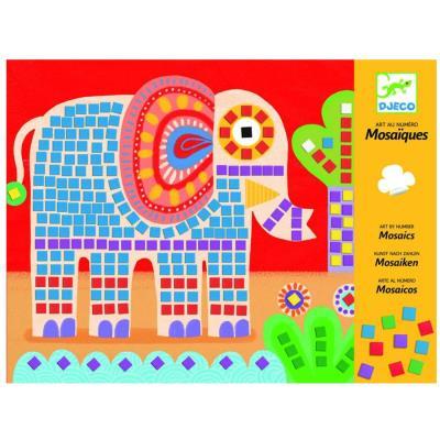 Mosaiques Elephant et escargot dessin au numero Djeco pour enfants dès 4 ans