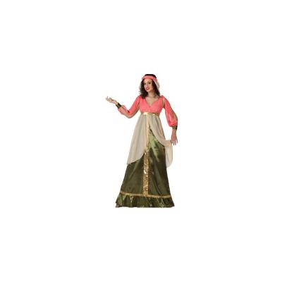 Deguisement de reine medievale vert et rose t 2