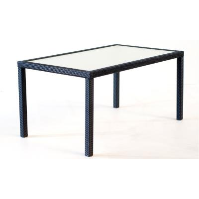 Table rectangle en résine tressée noir : 150 cm x 90 cm