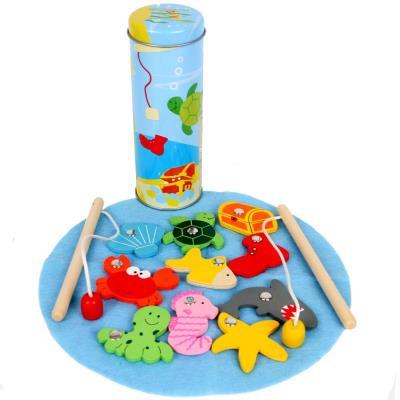 Jeu de pêche boîte metal Enfants 4 ans + 10 pcs 2 cannes aimantés en bois