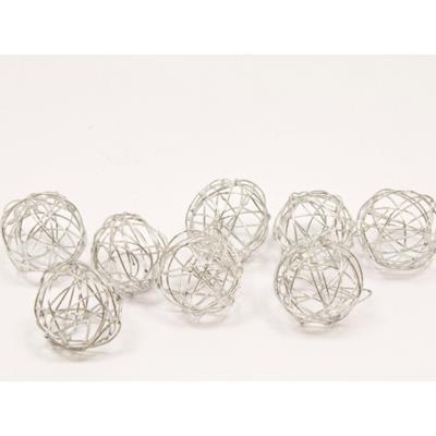 Lot de 12 boules de décoration en métal argent